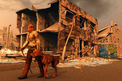 Lost. Scene of the person and dogs after apocalypse Royalty Free Stock Photo