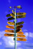Lost?. Closeup of a signboard with directions to everywhere Stock Photo