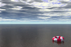 Lost. 3D render of life buoy floating in ocean royalty free illustration