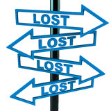 Lost. Everywhere,  words in all directions, street sign pointing at all directions in 3d, white background Royalty Free Stock Images