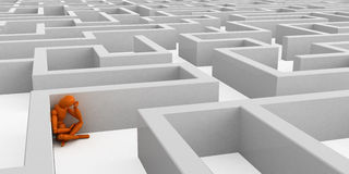 Lost. Orange mannequin in intricate maze Stock Images