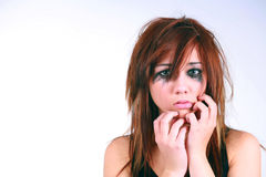 Lost. Girl with messy hair and makeup crying royalty free stock image