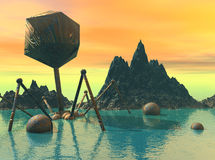 Lost Alien world. A 3d rendering of an alien world with a lost craft decays in the sea Royalty Free Stock Image