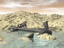 Lost anchor - 3D render Stock Image