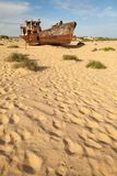 Lost Aral Sea. Abadoned ship in Aral Desert Stock Images