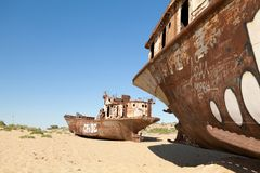 Lost Aral Sea. Abadoned ship in Aral Desert Royalty Free Stock Image