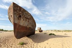 Lost Aral Sea. Abandoned ship in Aral Desert Royalty Free Stock Images