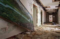 Lost Art. A painting that has been long forgotten in an abandoned nursing home Stock Photos
