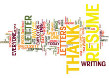 The Lost Art Of Resume Thank You Letters Text Background  Word Cloud Concept Stock Image