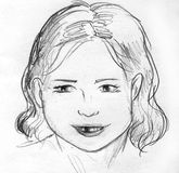 Lost a baby tooth, pencil sketch. Hand drawn pencil sketch of a little girl who has recently lost one of her baby teeth Royalty Free Stock Images