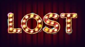 Lost Banner Vector. Casino Vintage Style Illuminated Light. For Luck Design. Gamble Illustration. Lost Banner Vector. Casino Vintage Style Illuminated Light. For Stock Photos