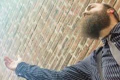 Lost Bearded Man Stock Photo