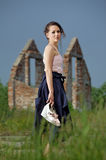 Lost beautiful Lady on a desolate place Royalty Free Stock Photography