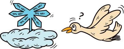 Lost Bird Cartoon Illustration. Lost Bird Cartoon Animal Character. Vector Illustration Royalty Free Stock Photo