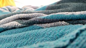 Lost in blanket. Details of a blue blanket Stock Photo