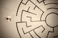 Free Lost Business Man Looking For A Way In Circular Labyrinth Stock Photography - 65698962