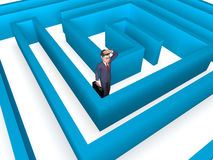 Lost Businessman Indicates Entrepreneurs Direction And Confuse 3d Rendering. Confused Maze Showing Decision Making And Character 3d Rendering Stock Photography