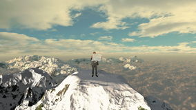 Lost Businessman with Map on top of the mountain above clouds, stock footage. Video stock footage