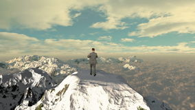 Lost Businessman with Map on top of the mountain, stock footage stock video footage