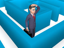 Lost Businessman Represents Decision Making And Achievement 3d Rendering. Maze Confused Showing Business Person And Choose 3d Rendering Royalty Free Stock Image