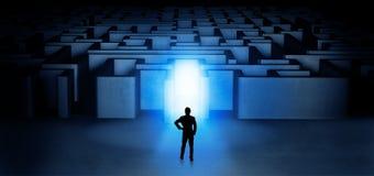 Lost businessman standing at illuminated labyrinth entrance vector illustration
