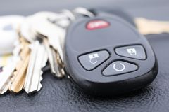 Lost car key and other keys. Lost car keys and other keys on the table royalty free stock photo