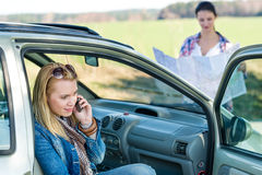 Lost with car two women call help Royalty Free Stock Photos