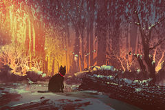 Lost cat in the forest. With mystic light,illustration painting Royalty Free Stock Photo