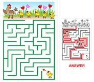 Lost chicken maze for kids. Royalty Free Stock Images