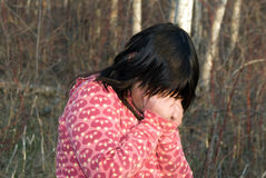 Lost Child. A young girl crying because she is lost in the woods Royalty Free Stock Photos