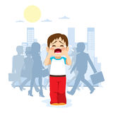 Lost Child. Cute little child crying because he is lost in the city with silhouette people on background Royalty Free Stock Image