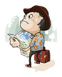 Lost in City. A tourist Lost in City with safari shirt. Cartoon series Stock Photo