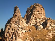 Lost City in Cappadocia. Stunning view of the lost city of Uchisar in Cappadocia royalty free stock image