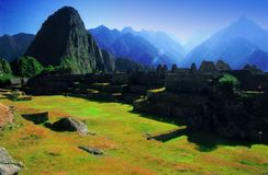 Lost City of Machu Picchu. Ancient ruins at the lost city of Machu Picchu in Peru stock photography