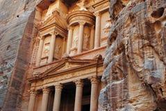 The lost city of Petra, Jordan. Al Khazneh (The Treasury; Arabic: الخزنة) is one of the most elaborate temples in the ancient Jordanian city of Petra Stock Image