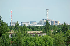 Lost city Pripyat and Chernobyl power station. View on lost and abandoned city Pripyat and Chernobyl nuclear power station Stock Photography