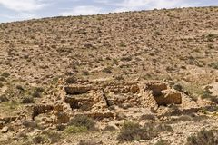The `Lost City` ruins in Negev Desert,Israel. The `Lost City` is Ruins of an ancient farming settlement, located near Kibbutz Sde-Boker.Negev desert,Israel.The Royalty Free Stock Photo