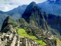 Machu Picchu, Inca city in Peru. Lost City - Sacred City - Cradle of the Inca Empire. It is surrounded by temples, platforms and water channels, built on top of Stock Image