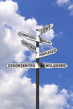 Lost and Confused signpost vertical. Concept image of words associated with being Lost and Confused on a  signpost against a blue cloudy sky Stock Photos
