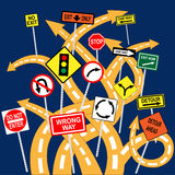 Lost and confused. Tangled road with confusing signs, conceptual vector illustration Royalty Free Stock Photo