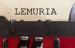 Lost continent of Lemuria. Concept- typed in an old vintage typewriter Royalty Free Stock Photography