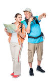 Lost a couple of tourists with backpacks Royalty Free Stock Photos
