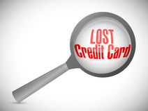 Lost credit card under investigation illustration Royalty Free Stock Photography
