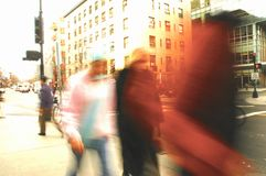 Lost in the Crowd. Motion Blur of people on a city street royalty free stock photos