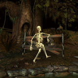 The Lost Date. 3d rendering a Fantasy scene with a skeleton at a forgotten place as illustration Royalty Free Stock Photos
