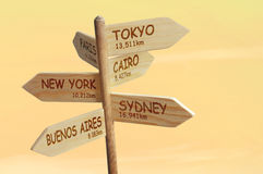 Lost in a desert. Wooden signpost indicating six world capitals with distances in kilometers Stock Images