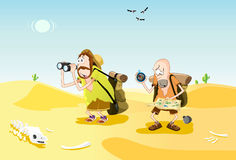 Lost in the desert. Two male backpackers lost in the desert vector illustration