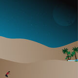 Lost in desert. Man lost in desert. Man trying survive,Vector, illustration Royalty Free Stock Photo