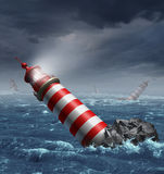 Lost Direction. And losing focus on a journey with a group of disoriented light house towers fallen in the ocean as a business and financial concept of Royalty Free Stock Photography
