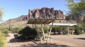Lost Dutchman State Park, Arizona picnic tables stock video